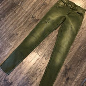 Olive Green Jeans H&M Divided distressed